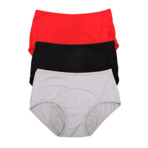 Bamboo Viscose Fiber Brief Menstrual Leakproof Panties 3 Pack Black,Red,Grey US Size M/6 (Best Way To Invest 3k)