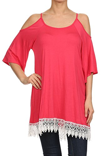 (Plus Size) Solid Color Kimono Sleeve Lace Trimmed Tunic Blouse(MADE IN U.S.A) - Lace Trimmed Turtleneck