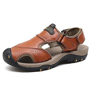 SHUAIGUO&schuhe Sommer Herrn Sandalen für Herren Herren Herrn Sommer Schuhe Leder Sommer Komfort Sandalen Schnalle für Normal Draussen Braun Dunkelbraun Khaki, us10/eu43/uk9/cn44 - 0b43a7
