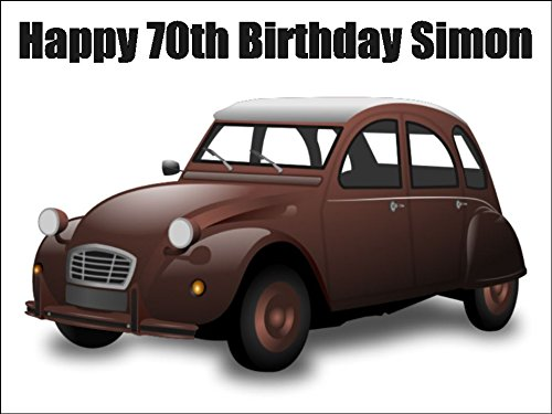 A4 Size 2CV Vintage French Classic Car Birthday Cake Toppers