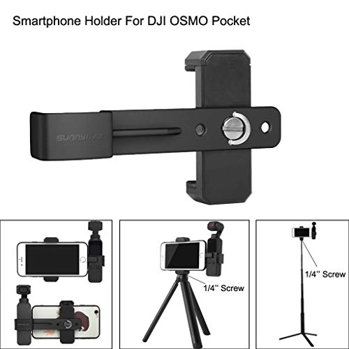 Price comparison product image Insaneness for DJI OSMO Pocket Gimbal Smartphone Fixing Clamp 1 / 4'' Holder Mount Bracket (Black)