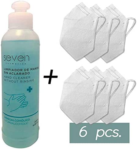 MAHI00061 Pack 6 mascarillas alto riesgo + 1 Limpiador hidroalcohólico 245 ml. deseinfectante higien