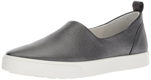 ECCO Women's Women's Gillian Slip On Sneaker, Black/Dark Silver, 37 M EU (6-6.5 US)