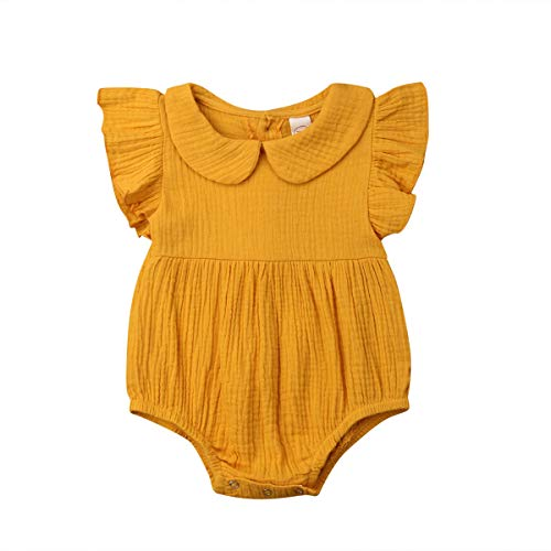 Hwaikun Baby Girl Ruffle Sleeveless Romper Toddler Button Jumpsuit Newborn Elegant Casual Bodysuit 0-24M (Yellow, 0-6 M)
