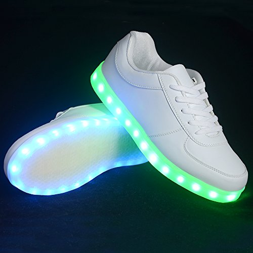 Scarpe Led Cleveyoung Ricarica Usb Light Up Sneaker Moda Unisex (6 Bianco)