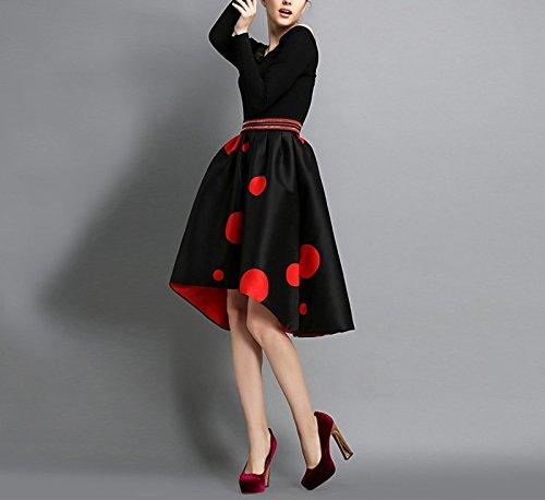 Oudan Evas Derriere Pois Noir Longue Jupe Jupe Asymetrique Devant Vintage Rtro Imprime Trapze Femme CCHwrU