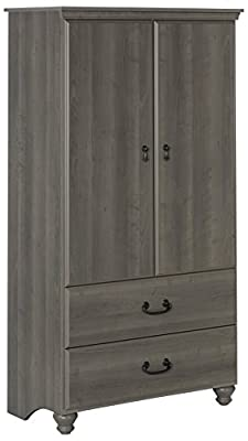 South Shore 2-Door Armoire with Adjustable Shelves and Storage Drawers, Gray Maple from South Shore