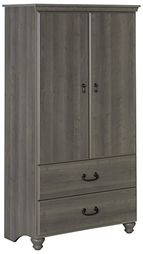 South Shore 2-Door Armoire with Adjustable Shelves and Storage Drawers, Gray (3 Drawer 2 Door Armoire)