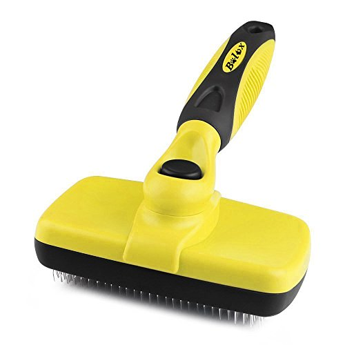 Bolux Pet Grooming Brush! Self Cleaning Slicker Brushes. Best Shedding Tools for Grooming Cats And Dogs with Long Thick Hair (Yellow)