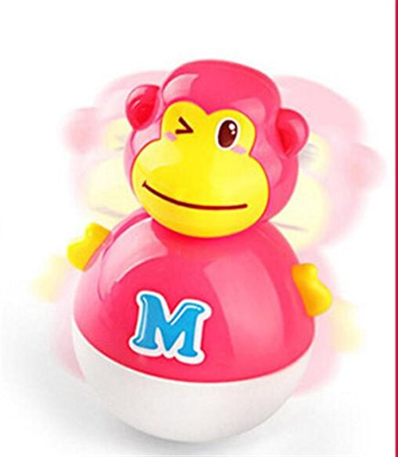 Nodding Monkey - Chusea Kids Activity Toys Practical Educational Adorable Monkey Nodding Tumbler Rattle Intellectual Toys(Red)