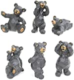 Set of 6 Black Bear Poses Resin Crafted Tabletop Figurines