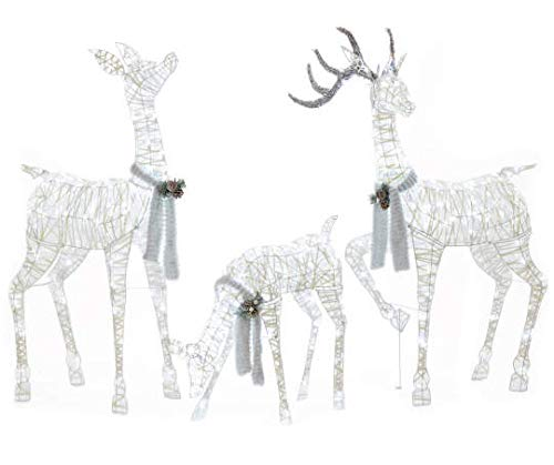 Set of 3 Lighted White Gold Deer Family (Buck 60'', Doe 52'', Fawn 28'') - Total of 360 LIGHTS, Reindeer Display Outdoor Holiday Yard Decoration