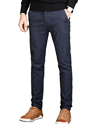 Men's Slim Fit Wrinkle-Free Casual Stretch Dress Pants,Fit Flat Front Trousers Blue