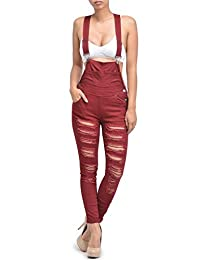 G-Style USA Women's Destroyed Skinny Overalls