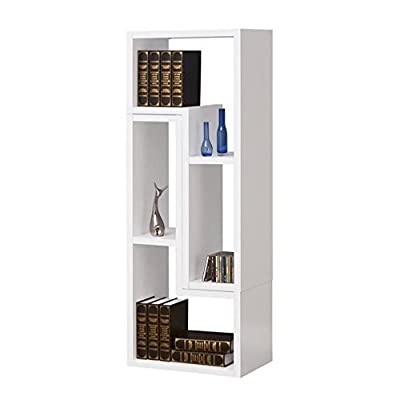 ioneyes home furnishings 800330 contemporary bookcase / tv stand, white