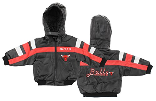 Chicago Bulls NBA Little Boys Toddler Hooded Pleather Heavy Weight Jacket (4T)