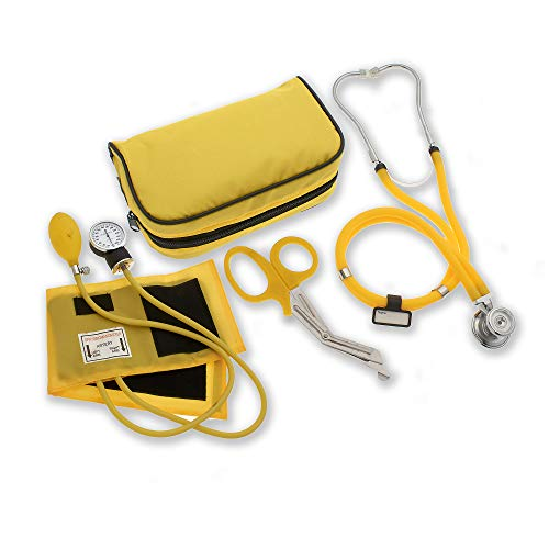 """ASATechmed Nurse/EMT Starter Pack Stethoscope, Blood Pressure Monitor and Free Trauma 7.5"""" EMT Shear Ideal Gift for Nurse, EMT, Medical Students, Firefighter, Police and Personal Use (Yellow)"""