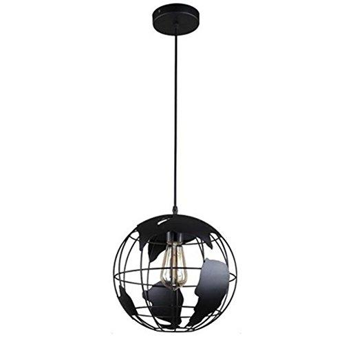 mhome globo terráqueo hierro lámpara de techo luz sombra para isla de cocina comedor decoración de restaurante, 20cm earth, Neg