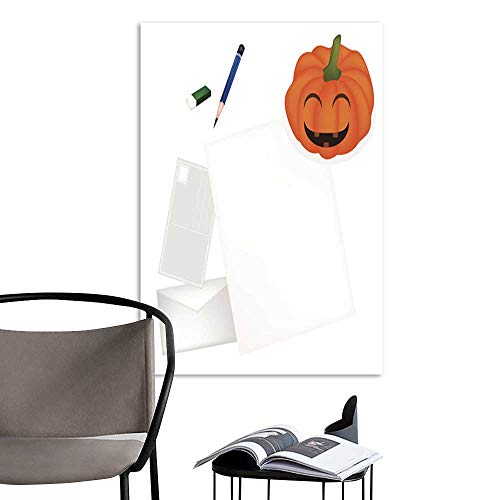 UHOO Linen Art Prints PicturesPencil Lying on Blank Page with Halloween Pumpkin.jpg Wall Art for Bedroom Living Room 20