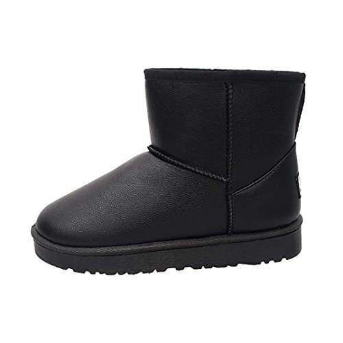 Womens Boots,Clode® Fashion Ladies Winter Fur Lined Leather Snow Ankle Boots Shoes Black