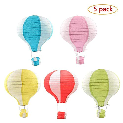 Party Supplies - Set of 5 Lot Hot Air Balloon Paper Lantern Decoration Pom Poms Pompoms Decoration Christmas Wedding Birthday Party Nursery Decoration Parties Favor Party Decor (12inch, Mix)]()