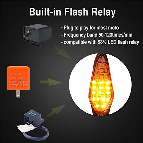 Pack of 2 CCAUTOVIE Feux Clignotant LED Moto Universel Clignotant Moto Homologu/ée Sequentiel LED Clignotant Ampoule Ambre E4