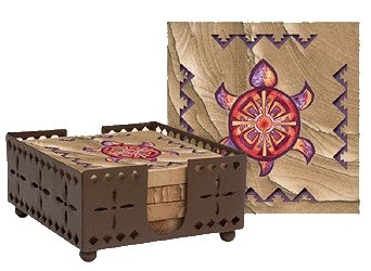 Set of Four Indian Turtle Coasters with holder - Style WIMP10R
