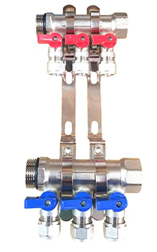 3-Loop/Port Ball Valve Brass Pex Manifold for 1/2