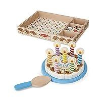 """Pastel de fiesta de cumpleaños Melissa y Doug, comida de juego de madera, ingredientes mixtos combinados y 7 velas, construcción robusta, 34 piezas, 11 """"Alt. X 12"""" An. X 2.8 """"L"""