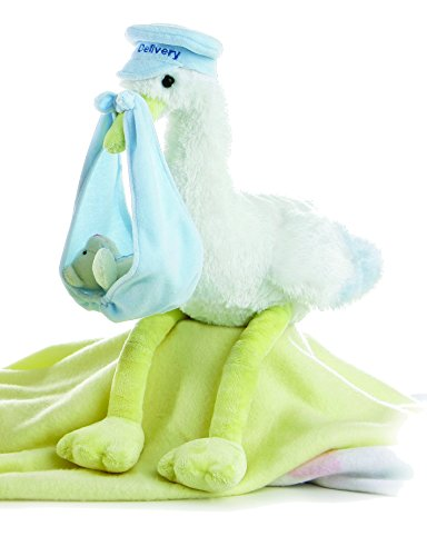 Aurora World Special Delivery Plush Baby Blue Stork 11