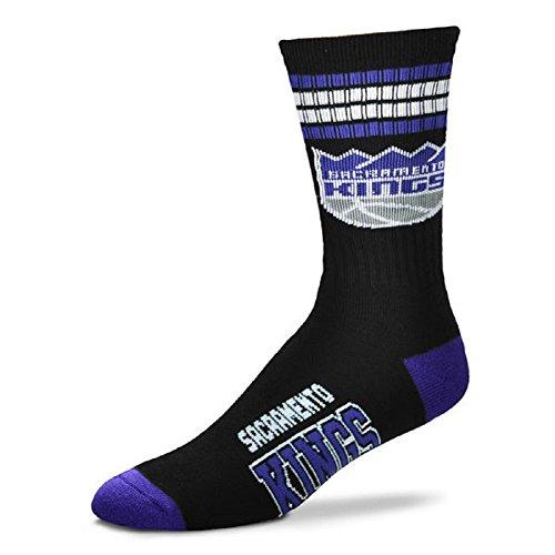 For Bare Feet NBA 4 Stripe Deuce Crew Men Socks-Sacramento Kings-Large (10-13) (Sacramento Kings Nba Basketball)