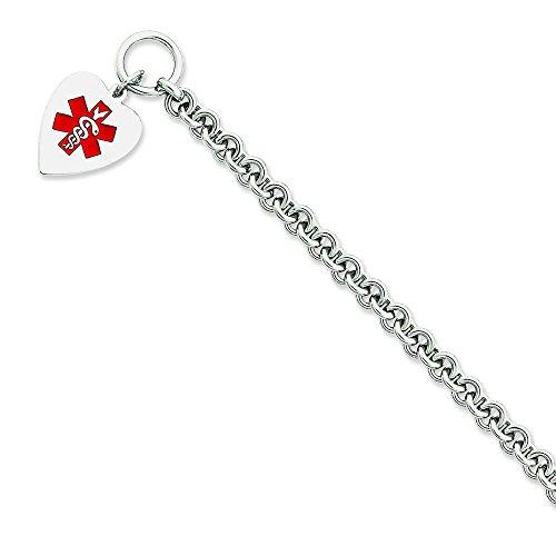 Coeur-Argent 925/1000-Émail-Med ID Bracelet de pouce pouce 8,75-Bascule-JewelryWeb