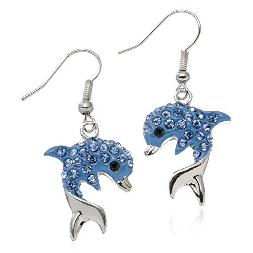 Blue Dolphin Earrings - PammyJ Blue Crystal Dolphin Earrings