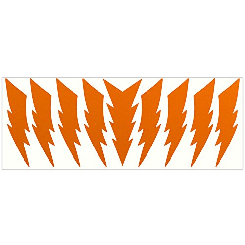 LiteMark Reflective Orange 4 Inch Lightning Sticker Decals for Helmets, Bicycles, Strollers, Wheelchairs and More - Pack of 9