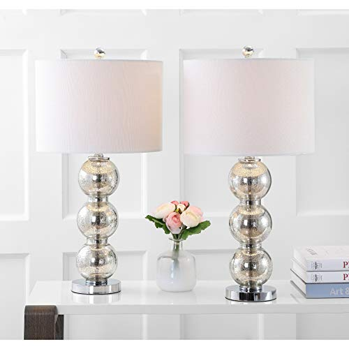 2 Piece Led Orb Table Lamp Set Glass, White Desk Lamp with Drum Shade 27