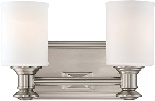 (Minka Lavery Wall Light Fixtures 5172-84 Harbour Point Glass Bath Vanity Lighting, 2 Light, Nickel)