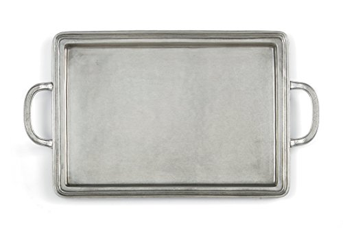 Pewter Rectangular Tray - Arte Italica Peltro Rectangular Tray, Medium, Pewter