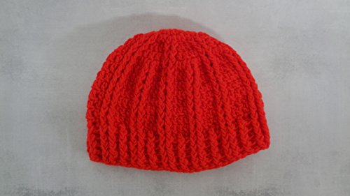 - Cherry red boho winter beanie made with acrylic yarn fits average adult head