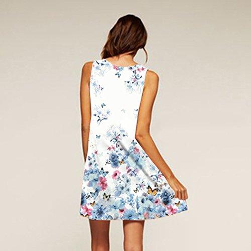 Totem Lache Vintage Blanc de Manches 013 Plage Femmes Peu Un Motif Fleur Robe Jardin sans D't Mini Transparent Robe WanYang 6w0txvq