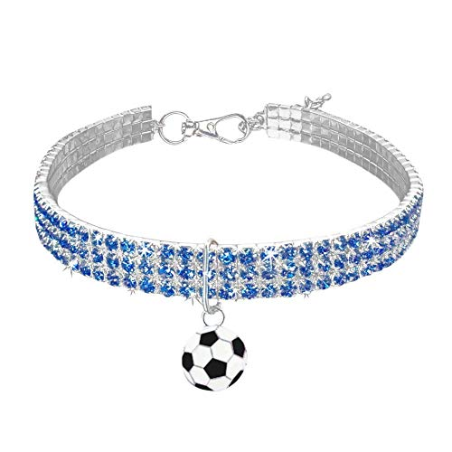 (MeiAOBest Pet Dog Rhinestone Collar, Blingbling Stretchable Crystal Necklace Football Pendant for Puppy Small Dog Cat (L, Blue) )