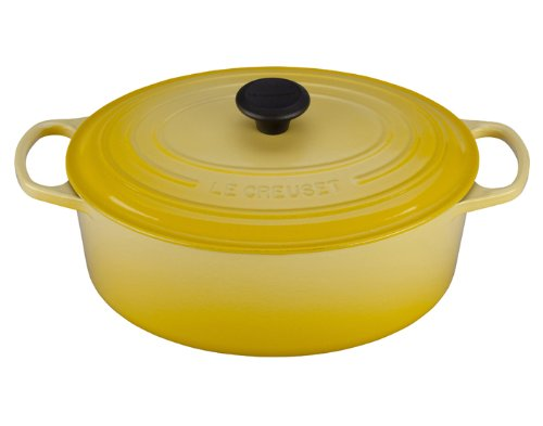 Le Creuset Soleil Signature Enameled Cast Iron 6.75 Quart Oval French Oven with Free Oven Mitt
