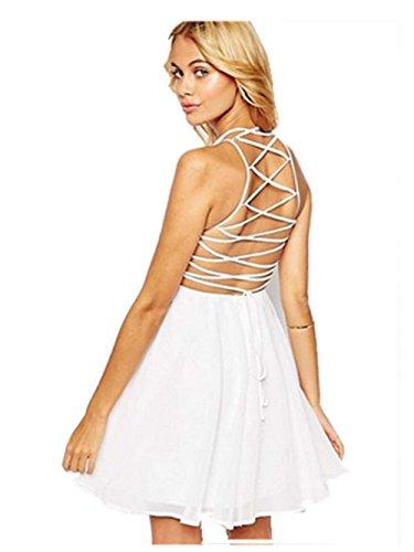 SRYS 2017 Summer Halter Straps Wedding Bodycon Black Solid Color Dress (S, (60s Sheer)