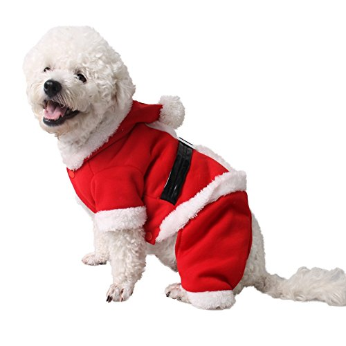 Bonaweite Pet Christmas Costume, Santa Suit Halloween Costumes,Pets Warm Hoodies Outfit for Cute Puppy Kitten Small Cats Dogs Puppy Red S