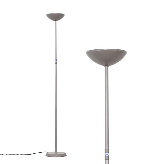 Modern grey 24w integrated led dimmable uplighter floor lamp with blue switch energy class a