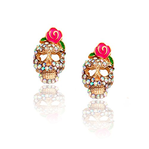 Golden Sugar Skull Post Earrings with Rose Detail and Aurora Borealis Crystals [Dia De Los Muertos]