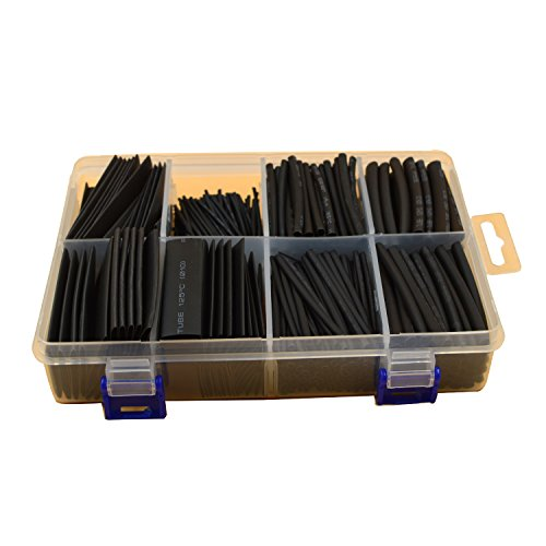 URBEST®420 Pcs Black Assorted Heat Shrink Tube 10 Sizes Tubing Wrap Sleeve Set Combo
