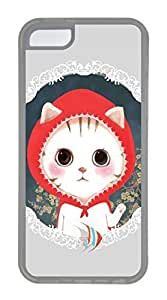 iPhone 5C Case, Customized Protective Soft TPU Clear Case for iphone 5C - Cat With Redhat Cover