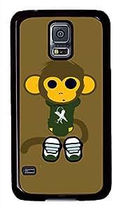 Cute Monkey Black Hard Case Cover Skin For Samsung Galaxy S5 I9600