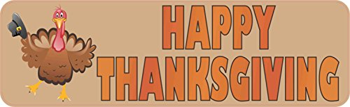 StickerTalk 10in x 3in Happy Thanksgiving Magnet Magnetic Holiday Car Bumper Magnets ()