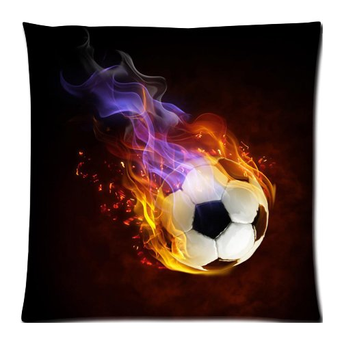 Flipped Summer Y Cool Fire Soccer Balls Decorative Custom Pillowcase Bear Pillow Cushion Cover Pillowslip Size 18''x 18'' by Flipped Summer Y